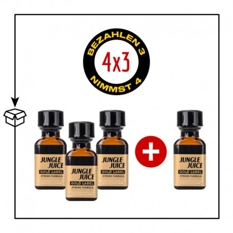 PACK 4 POPPERS JUNGLE JUICE GOLD LABEL 24ML